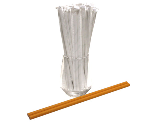 Individually Wrapped Yellow Paper Straws (6mm x 200mm) - Biodegradable / Eco-Friendly / Food Safe - Intrinsic Paper Straws