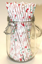 Load image into Gallery viewer, Merry Christmas Paper Straws (6mm x 200mm) - Biodegradable / Eco-Friendly / Food Safe - Intrinsic Paper Straws