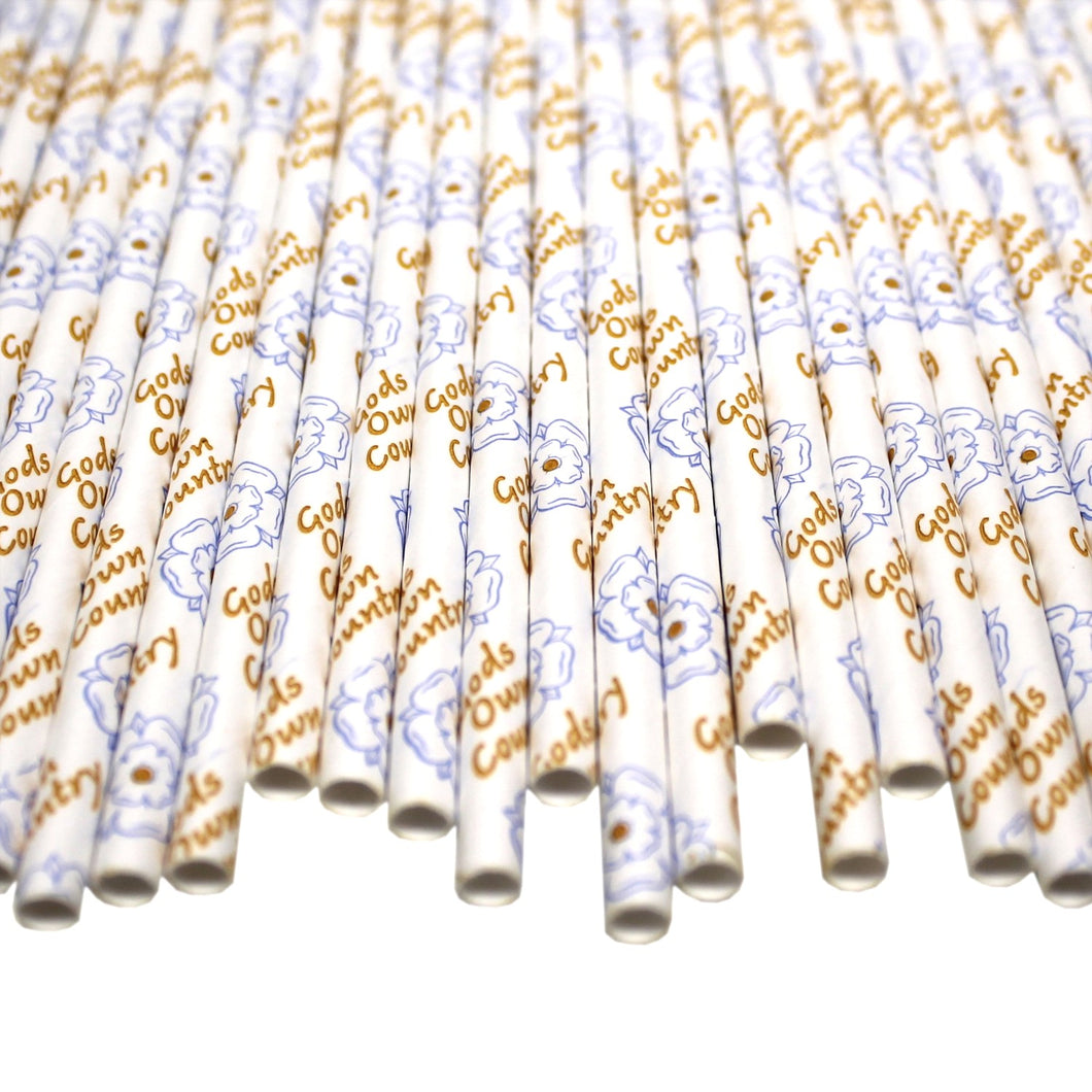 Yorkshire Paper Straws - Gods Own Country (6mm x 200mm) - Biodegradable / Eco-Friendly / Food Safe - Intrinsic Paper Straws