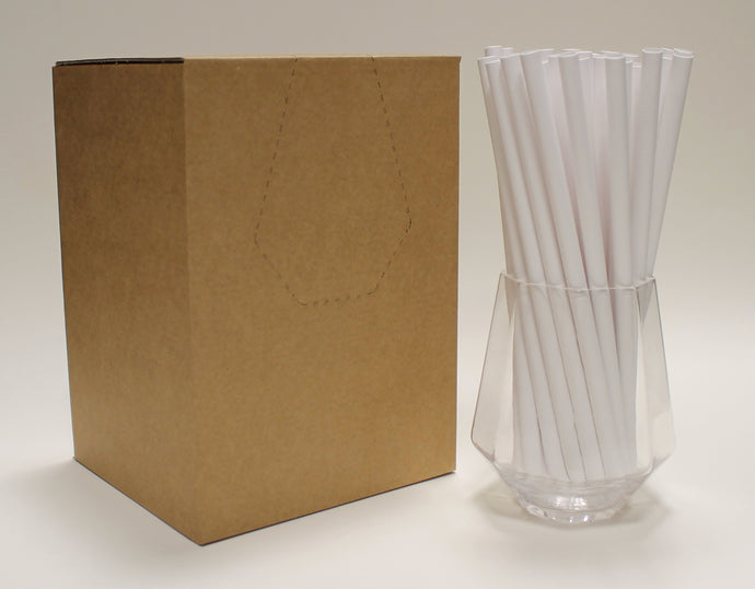 White Paper Straws (8mm x 200mm) - Biodegradable / Eco-Friendly / Food Safe - Intrinsic Paper Straws