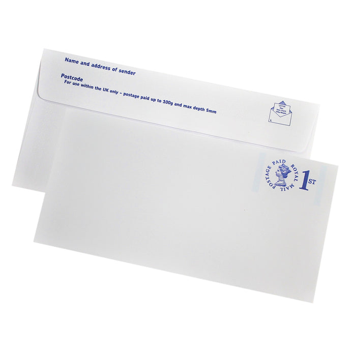 110x220mm DL White Prepaid 1st Class Envelopes (None Window) - Pack of 10 - Biodegradable / Eco-Friendly / Food Safe - Intrinsic Paper Straws