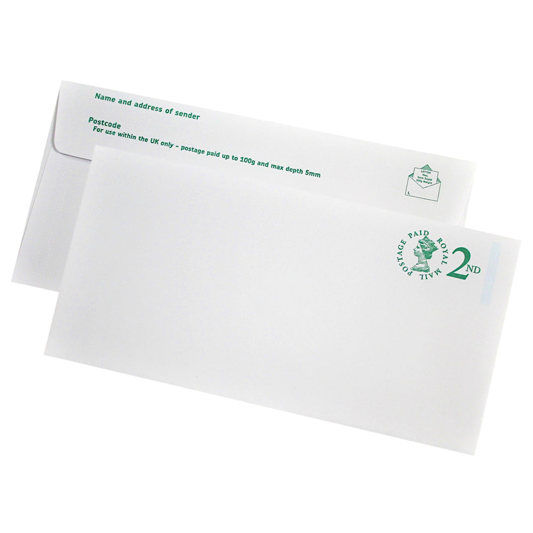 110x220mm DL White Prepaid 2nd Class Envelopes (None Window) - Pack of 10 - Biodegradable / Eco-Friendly / Food Safe - Intrinsic Paper Straws