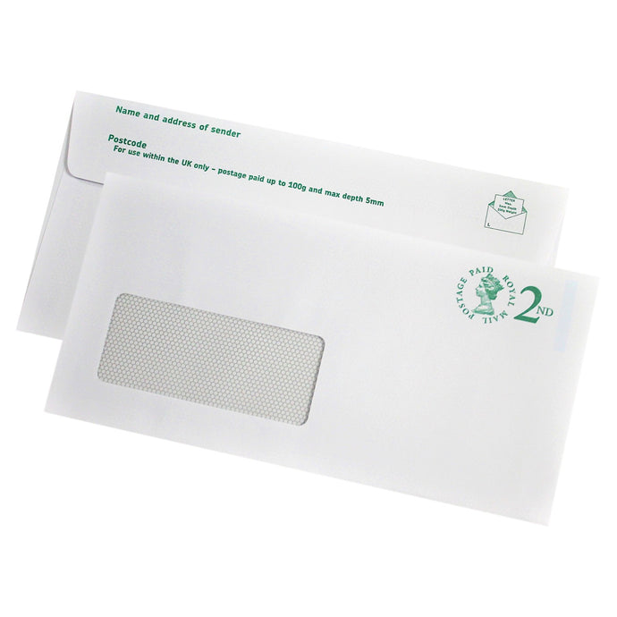 110x220mm DL White Prepaid 2nd Class Envelopes (Window 39x93) - Pack of 10 - Biodegradable / Eco-Friendly / Food Safe - Intrinsic Paper Straws