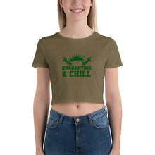 "Load image into Gallery viewer, Premium Women's Crop Tee Just Relax with ""Quarantine and Chill"""