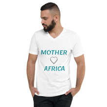 Load image into Gallery viewer, Unisex Short Sleeve V-Neck T-Shirt. Mother Africa, Land of the Sun