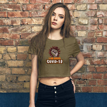 "Load image into Gallery viewer, Premium Women's Crop Tee with uplifting quote ""I AM ABOVE COVID - 19"""
