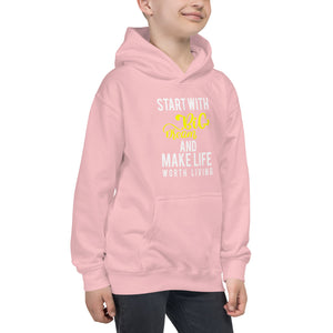 "Premium 2019 Kids Hoodie "" Feel Good with this beautiful "" Start With Big dreams and make life worth living"""