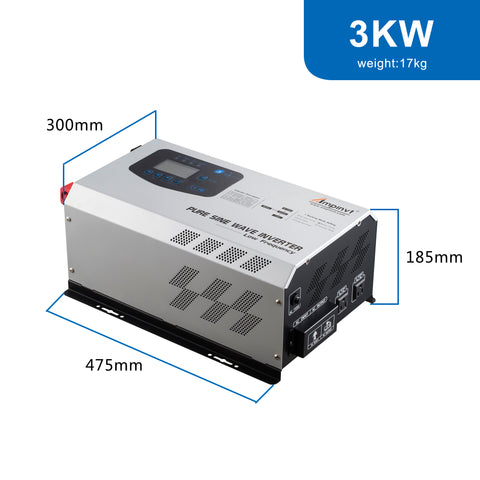 Ampinvt 3000W Peak 9000watts Pure Sine Wave Power Inverter DC 24V to AC 120V Output with Charger