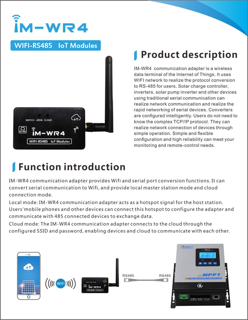 Ampinvt M-WR4 WIFI box RS485 to Adapter Conmmuication Wireless Monitoring