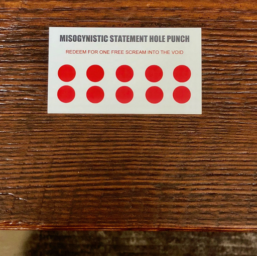 Misogynistic Comment Hole Punch Card