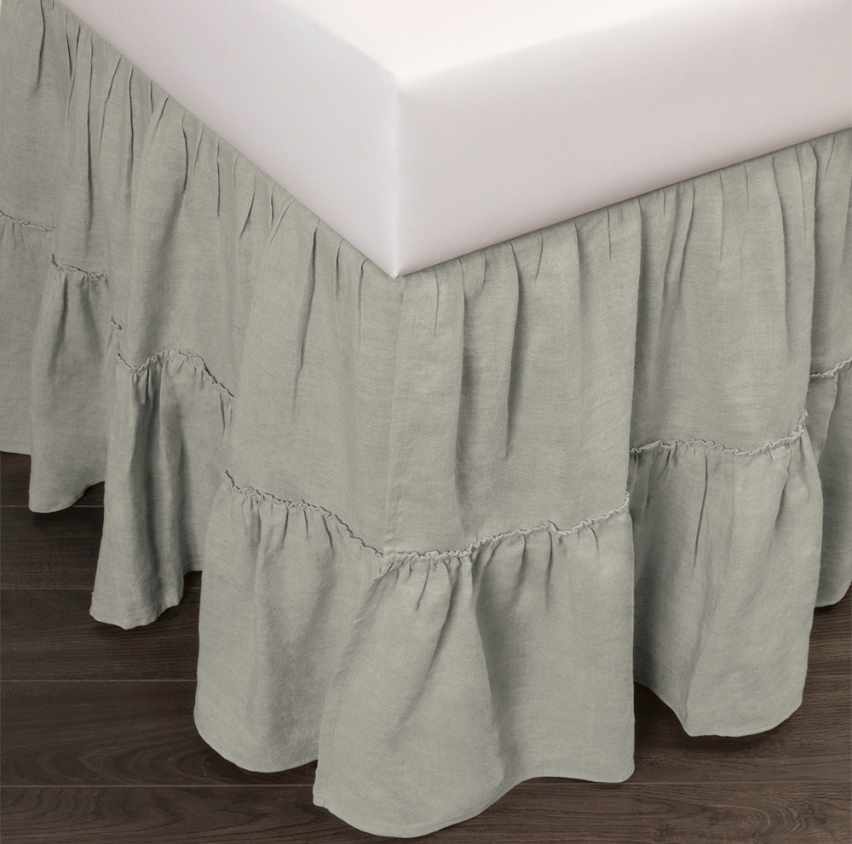 caprice linen bed skirt seaglass