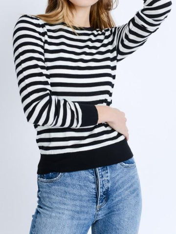 Happy Place Black White Stripe Sweater | Sassy Shortcake | sassyshortcake.com