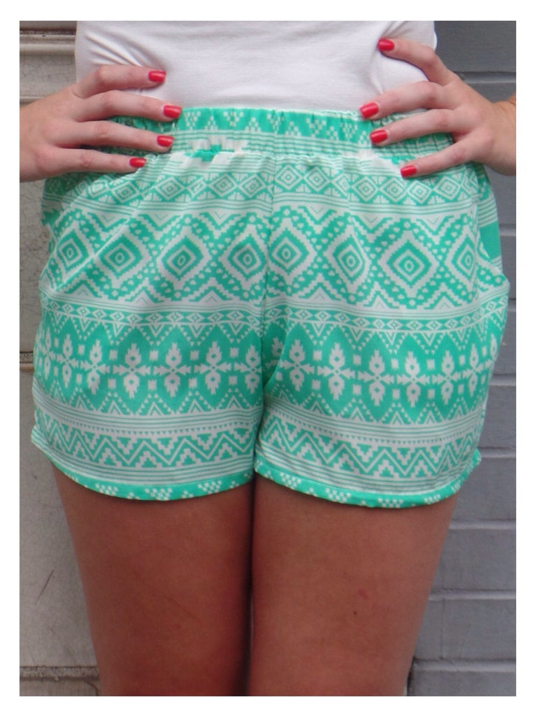Mint Tribal Shorts