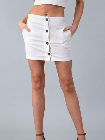 Meet Again White Linen Skirt | sassyshortcake.com | Sassy Shortcake Boutique