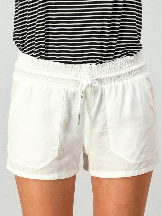 White In Plain View Drawstring Shorts | Sassy Shortcake | sassyshortcake.com