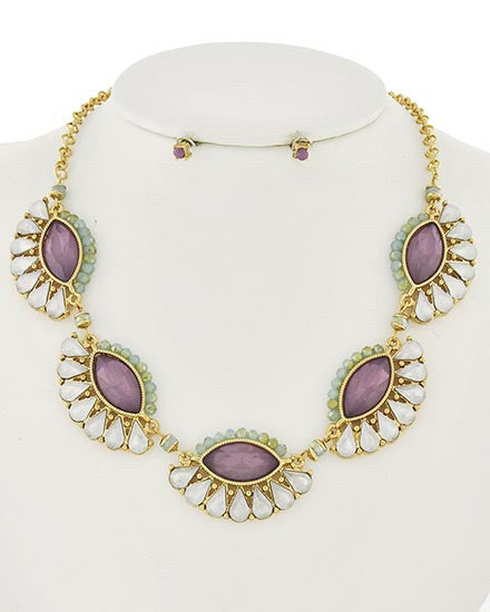 Purple White Opal Necklace Set  | www.sassyshortcake.com
