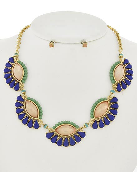 Royal Blue Opal Necklace Set  | www.sassyshortcake.com