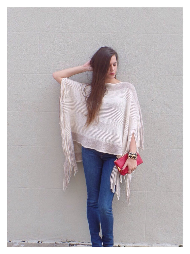Fringe Nights Poncho - Cream