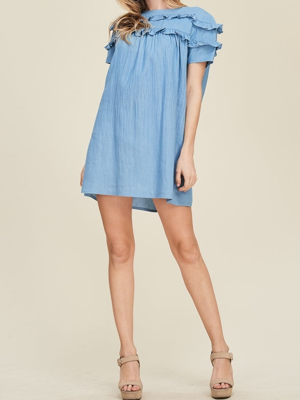 Coast to Coast Chambray Ruffle Dress | sassyshortcake.com | sassy shortcake boutique