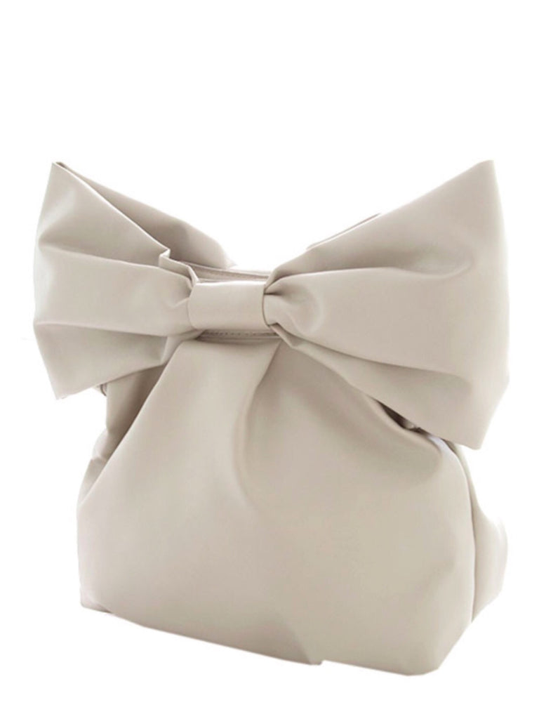 Taupe Bow Clutch | Sassy Shortcake Boutique