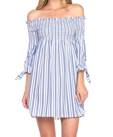 Bon Voyage Stripe Off the Shoulder Dress | sassyshortcake.com | sassy shortcake boutique