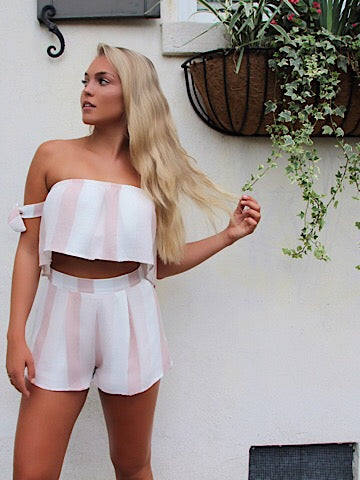 pink striped set off the shoulder top with high waisted shorts | sassyshortcake.com | Sassy Shortcake