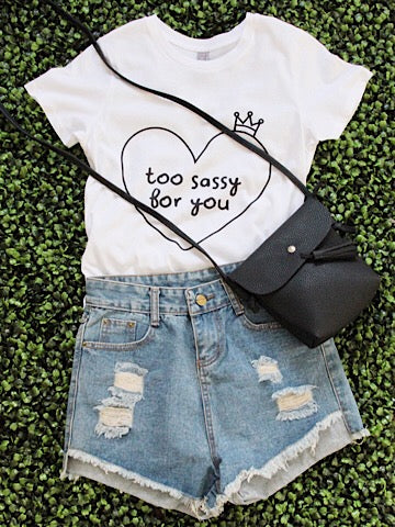 too sassy for you tee with a crown | sassyshortcake.com | sassy shortcake boutique