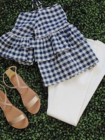 Pursuit of Happiness | off the shoulder gingham ruffle top | sassyshortcake.com | Sassy Shortcake