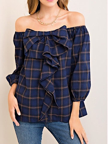 Plaid Off Shoulder Bow Top | sassyshortcake.com | sassy shortcake boutique