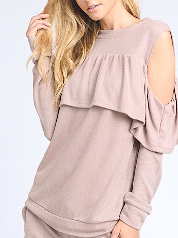 Shrug It Off Blush Sweatshirt Cold Shoulder with Ruffles | sassyshortcake.com | Sassy Shortcake