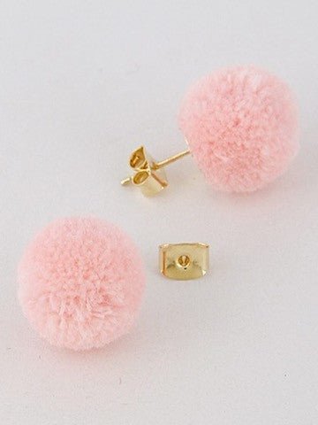 pink pom pom earrings | sassyshortcake.com | Sassy Shortcake