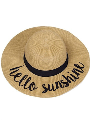 straw hello sunshine floppy hat black ribbon accent | sassyshortcake.com | Sassy Shortcake