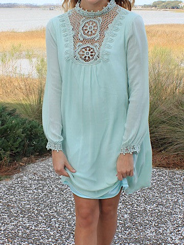 Mint Crochet Gauze Bib Dress | sassy shortcake | sassyshortcake.com