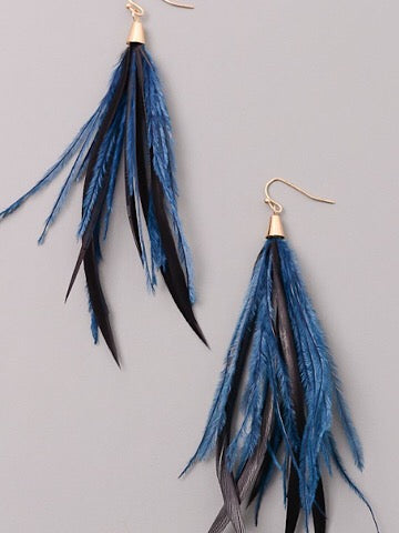 Light As A Feather Earrings | black and blue feather earrings | sassyshortcake.com | Sassy Shortcake