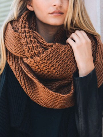 Round and Round We Go Camel Oversized Knit Scarf | sassyshortcake.com | Sassy Shortcake