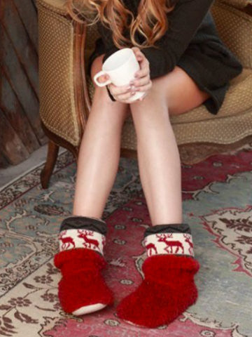 warm and snuggly Reindeer Cheer bootie fuzzy slippers | sassyshortcake.com