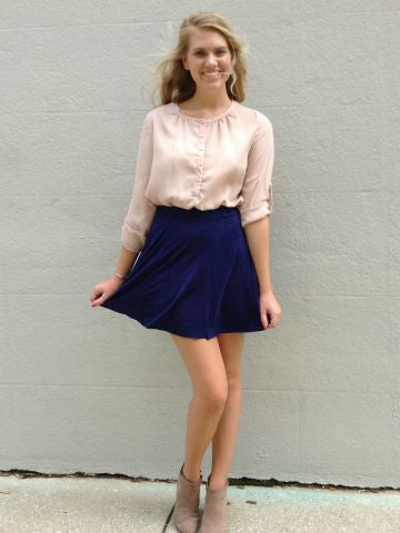 Navy Suede Skirt | Fall Fashion | sassy shortcake boutique