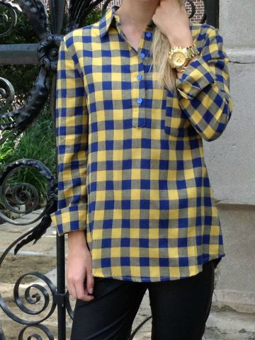 Mustard Navy Plaid Top | Sassy Shortcake