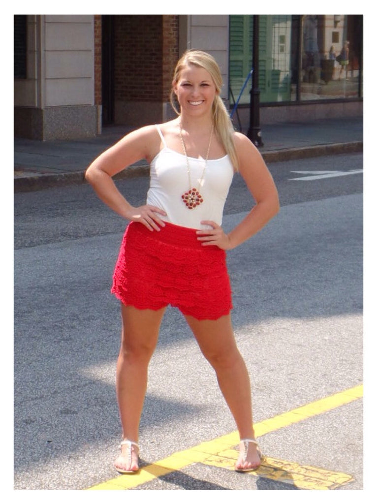 Red Rover Crochet Shorts