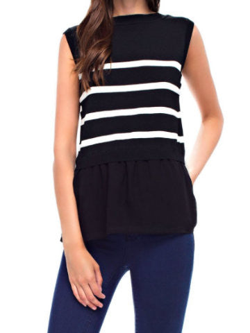 black white striped top | fall in line | sassyshortcake.com