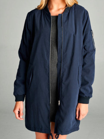 Long Navy Bomber Coat | sassyshortcake.com