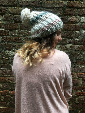 Brooklyn Beanie |  Pom Pom Striped Hat | sassyshortcake.com