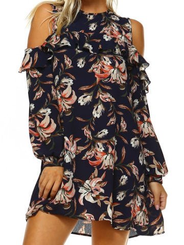 Floral open shoulder dress | Brushstroke Lillies | Sassy Shortcake | sassyshortcake.com