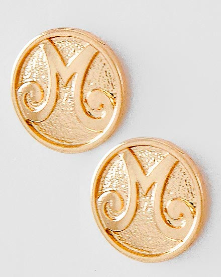 Sassy Button Initial Earrings