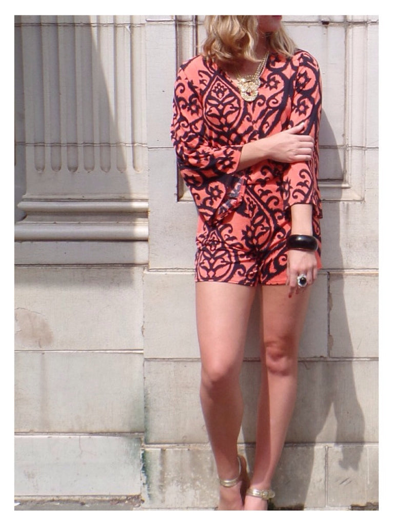 Battery Park Romper -  Orange