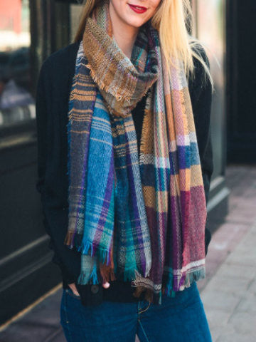 Cabin cozy multicolored Plaid Scarf | sassyshortcake.com
