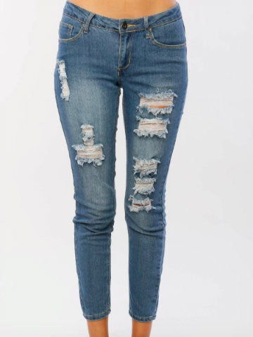 Fly By Night Distressed Boyfriend jeans | sassyshortcake.com