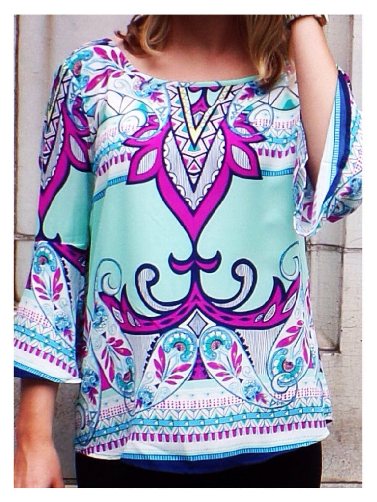 Mint Paisley Top