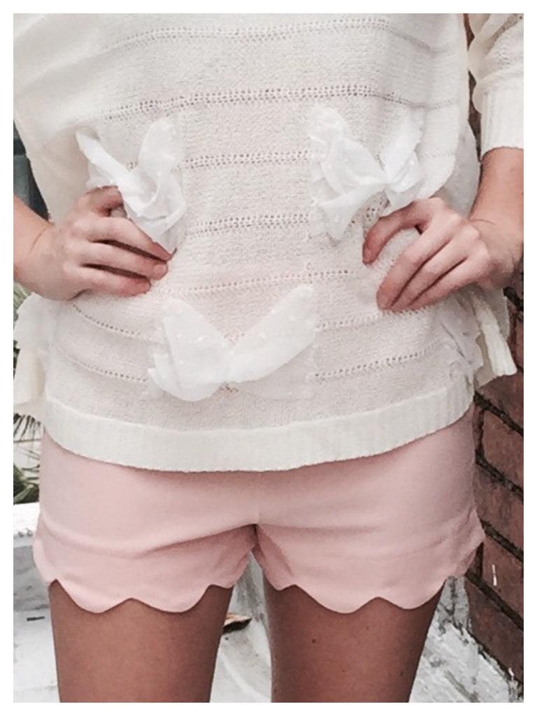 Simply Scallop Shorts Blush Pink | Sassy Shortcake Boutique