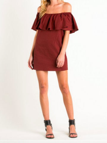 Off the shoulder red ruffle Dress | sassyshortcake.com
